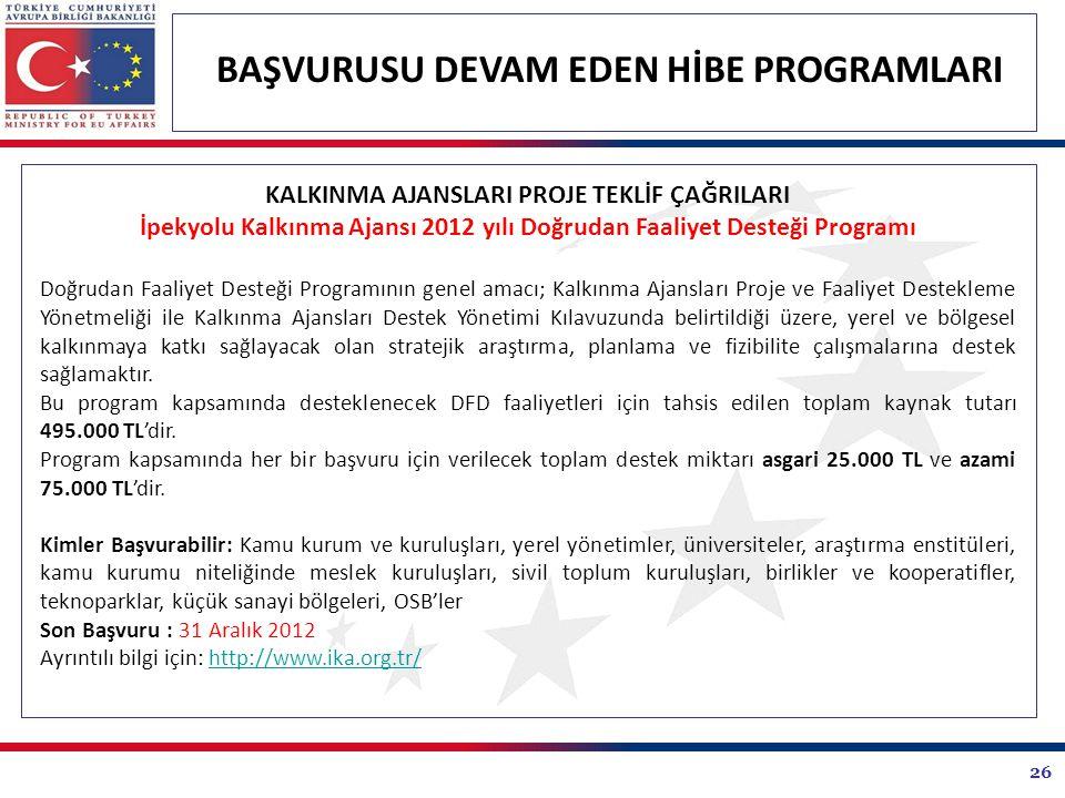 26 BAŞVURUSU DEVAM EDEN HİBE PROGRAMLARI KALKINMA AJANSLARI PROJE TEKLİF ÇAĞRILARI İpekyolu Kalkınma Ajansı 2012 yılı Doğrudan Faaliyet Desteği Programı Doğrudan Faaliyet Desteği Programının genel amacı; Kalkınma Ajansları Proje ve Faaliyet Destekleme Yönetmeliği ile Kalkınma Ajansları Destek Yönetimi Kılavuzunda belirtildiği üzere, yerel ve bölgesel kalkınmaya katkı sağlayacak olan stratejik araştırma, planlama ve fizibilite çalışmalarına destek sağlamaktır.