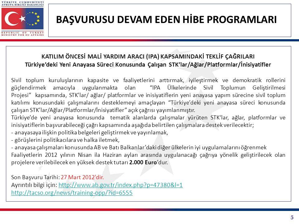 5 BAŞVURUSU DEVAM EDEN HİBE PROGRAMLARI KATILIM ÖNCESİ MALİ YARDIM ARACI (IPA) KAPSAMINDAKİ TEKLİF ÇAĞRILARI Türkiye'deki Yeni Anayasa Süreci Konusunda Çalışan STK'lar/Ağlar/Platformlar/İnisiyatifler Sivil toplum kuruluşlarının kapasite ve faaliyetlerini arttırmak, iyileştirmek ve demokratik rollerini güçlendirmek amacıyla uygulanmakta olan IPA Ülkelerinde Sivil Toplumun Geliştirilmesi Projesi kapsamında, STK'lar/ ağlar/ platformlar ve inisiyatiflerin yeni anayasa yapım sürecine sivil toplum katılımı konusundaki çalışmalarını desteklemeyi amaçlayan Türkiye'deki yeni anayasa süreci konusunda çalışan STK'lar/Ağlar/Platformlar/İnisiyatifler açık çağrısı yayımlanmıştır.