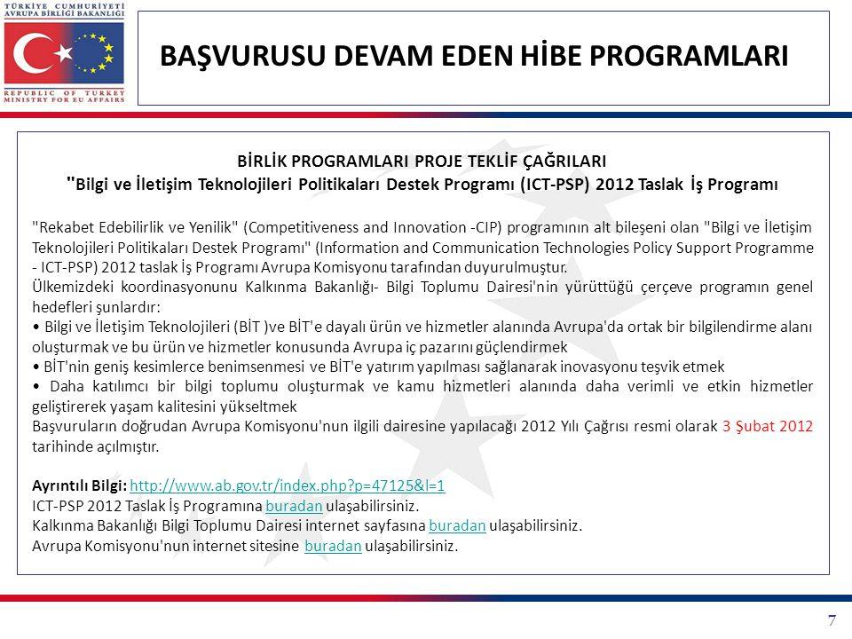7 BAŞVURUSU DEVAM EDEN HİBE PROGRAMLARI BİRLİK PROGRAMLARI PROJE TEKLİF ÇAĞRILARI Bilgi ve İletişim Teknolojileri Politikaları Destek Programı (ICT-PSP) 2012 Taslak İş Programı Rekabet Edebilirlik ve Yenilik (Competitiveness and Innovation -CIP) programının alt bileşeni olan Bilgi ve İletişim Teknolojileri Politikaları Destek Programı (Information and Communication Technologies Policy Support Programme - ICT-PSP) 2012 taslak İş Programı Avrupa Komisyonu tarafından duyurulmuştur.