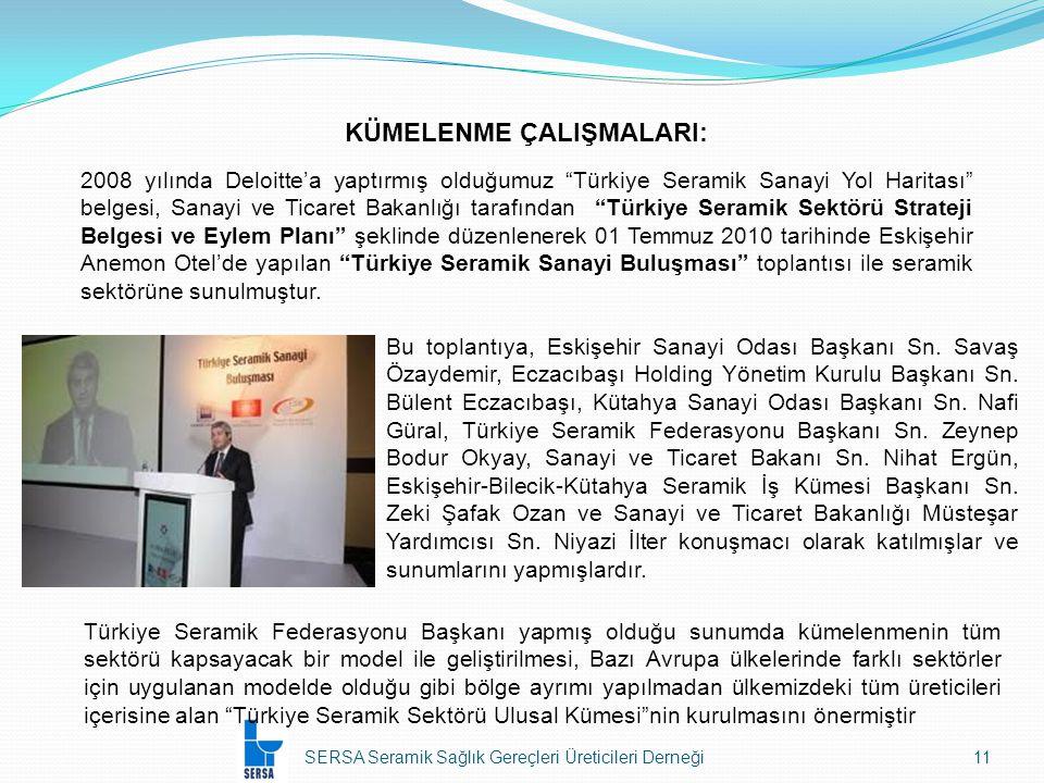 SERSA Seramik Sağlık Gereçleri Üreticileri Derneği11 KÜMELENME ÇALIŞMALARI: 2008 yılında Deloitte'a yaptırmış olduğumuz Türkiye Seramik Sanayi Yol Haritası belgesi, Sanayi ve Ticaret Bakanlığı tarafından Türkiye Seramik Sektörü Strateji Belgesi ve Eylem Planı şeklinde düzenlenerek 01 Temmuz 2010 tarihinde Eskişehir Anemon Otel'de yapılan Türkiye Seramik Sanayi Buluşması toplantısı ile seramik sektörüne sunulmuştur.