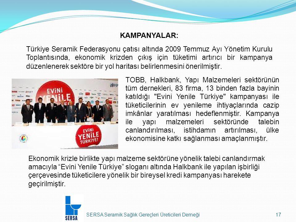 SERSA Seramik Sağlık Gereçleri Üreticileri Derneği17 KAMPANYALAR: Türkiye Seramik Federasyonu çatısı altında 2009 Temmuz Ayı Yönetim Kurulu Toplantısında, ekonomik krizden çıkış için tüketimi artırıcı bir kampanya düzenlenerek sektöre bir yol haritası belirlenmesini önerilmiştir.