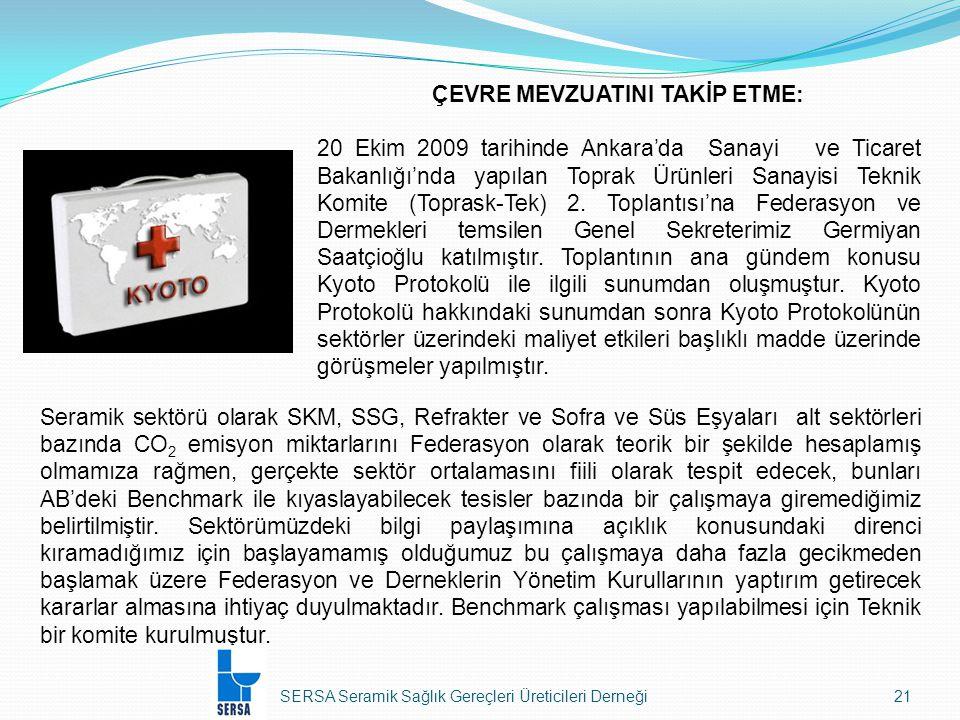SERSA Seramik Sağlık Gereçleri Üreticileri Derneği21 Seramik sektörü olarak SKM, SSG, Refrakter ve Sofra ve Süs Eşyaları alt sektörleri bazında CO 2 emisyon miktarlarını Federasyon olarak teorik bir şekilde hesaplamış olmamıza rağmen, gerçekte sektör ortalamasını fiili olarak tespit edecek, bunları AB'deki Benchmark ile kıyaslayabilecek tesisler bazında bir çalışmaya giremediğimiz belirtilmiştir.