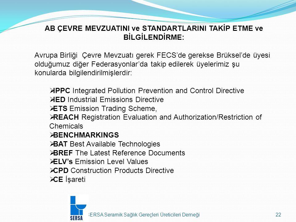 SERSA Seramik Sağlık Gereçleri Üreticileri Derneği22 AB ÇEVRE MEVZUATINI ve STANDARTLARINI TAKİP ETME ve BİLGİLENDİRME: Avrupa Birliği Çevre Mevzuatı gerek FECS'de gerekse Brüksel'de üyesi olduğumuz diğer Federasyonlar'da takip edilerek üyelerimiz şu konularda bilgilendirilmişlerdir:  IPPC Integrated Pollution Prevention and Control Directive  IED Industrial Emissions Directive  ETS Emission Trading Scheme,  REACH Registration Evaluation and Authorization/Restriction of Chemicals  BENCHMARKINGS  BAT Best Available Technologies  BREF The Latest Reference Documents  ELV's Emission Level Values  CPD Construction Products Directive  CE İşareti