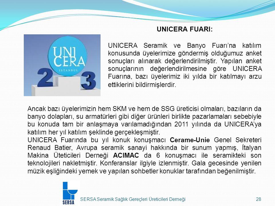 SERSA Seramik Sağlık Gereçleri Üreticileri Derneği28 Ancak bazı üyelerimizin hem SKM ve hem de SSG üreticisi olmaları, bazıların da banyo dolapları, su armatürleri gibi diğer ürünleri birlikte pazarlamaları sebebiyle bu konuda tam bir anlaşmaya varılamadığından 2011 yılında da UNICERA'ya katılım her yıl katılım şeklinde gerçekleşmiştir.
