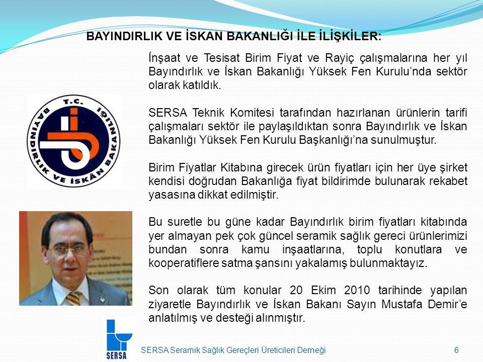 SERSA Seramik Sağlık Gereçleri Üreticileri Derneği37 Kayseri Free Zone'dan Yapılan İthalat Hariç