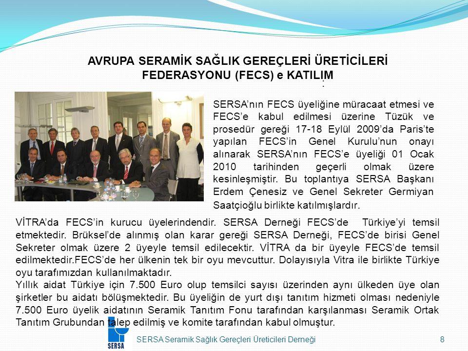 SERSA Seramik Sağlık Gereçleri Üreticileri Derneği9 AVRUPA SERAMİK SAĞLIK GEREÇLERİ ÜRETİCİLERİ FEDERASYONU (FECS) e KATILIM: 08–09 Temmuz 2010 tarihinde Brüksel'de FECS Executive Committee toplantısı yapılmış ve bu toplantıya Derneğimizi temsilen Erdem Çenesiz ve Germiyan Saatçioğlu katılmışlardır.