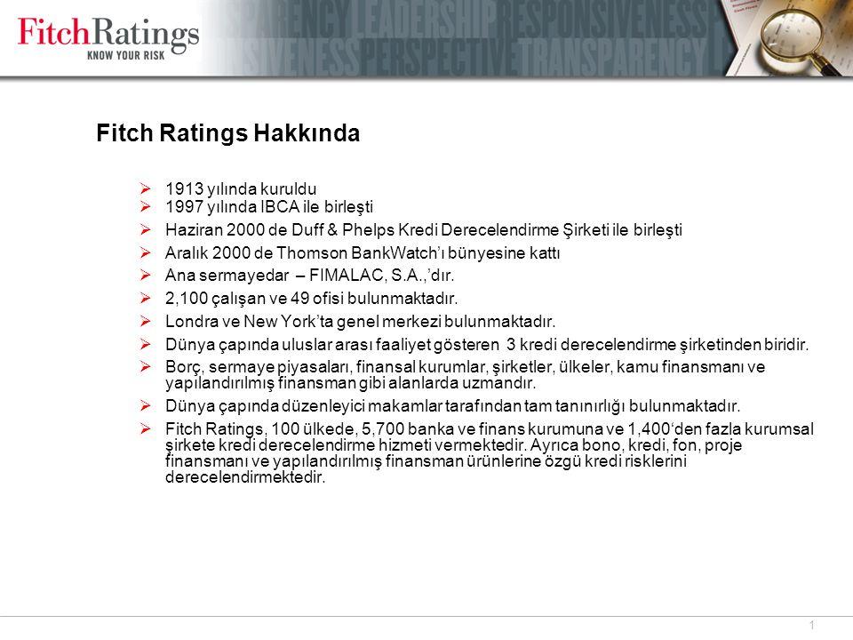 2 Fitch Ratings AŞ  Fitch Ratings AŞ, Türkiye ofisi kurulduğu 1999 yılından beri Türkiye'de kredi derecelendirme hizmeti vermektedir.