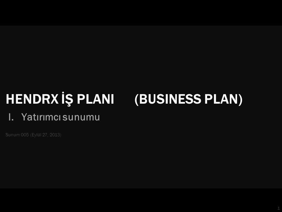 1 HENDRX İŞ PLANI (BUSINESS PLAN) I. Yatırımcı sunumu Sunum 005 (Eylül 27, 2013)