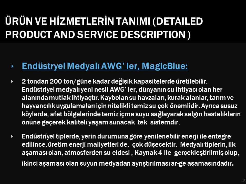 ÜRÜN VE HİZMETLERİN TANIMI (DETAILED PRODUCT AND SERVICE DESCRIPTION ) ‣ Endüstryel Medyalı AWG' ler, MagicBlue: ‣ 2 tondan 200 ton/güne kadar değişik kapasitelerde üretilebilir.