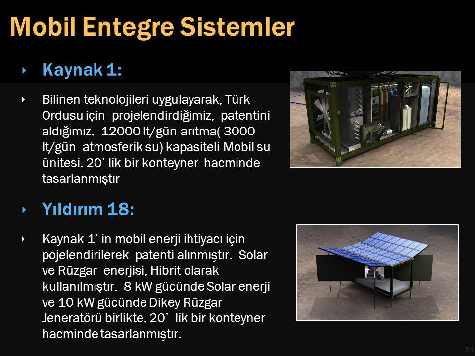 Mobil Entegre Sistemler 21 ‣ Kaynak 1: ‣ Bilinen teknolojileri uygulayarak, Türk Ordusu için projelendirdiğimiz, patentini aldığımız, 12000 lt/gün arıtma( 3000 lt/gün atmosferik su) kapasiteli Mobil su ünitesi.