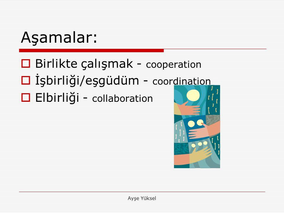 Ayşe Yüksel Aşamalar:  Birlikte çalışmak - cooperation  İşbirliği/eşgüdüm - coordination  Elbirliği - collaboration