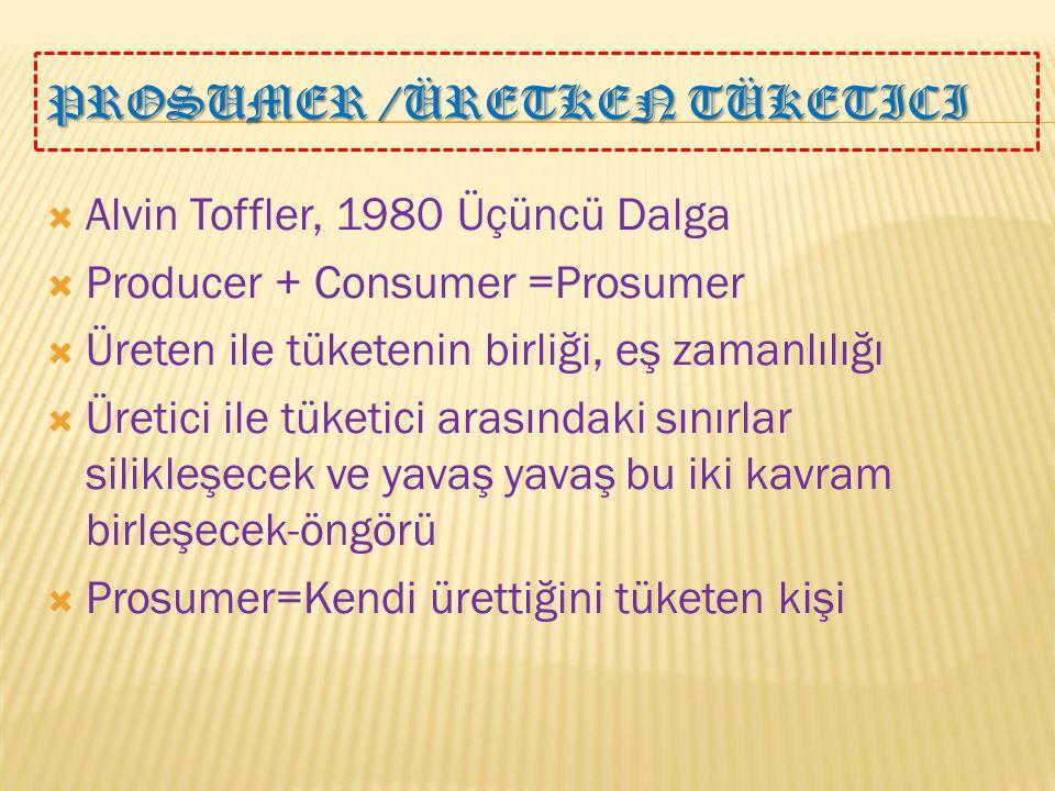 PROSUMER /ÜRETKEN TÜKETICI  Alvin Toffler, 1980 Üçüncü Dalga  Producer + Consumer =Prosumer  Üreten ile tüketenin birliği, eş zamanlılığı  Üretici ile tüketici arasındaki sınırlar silikleşecek ve yavaş yavaş bu iki kavram birleşecek-öngörü  Prosumer=Kendi ürettiğini tüketen kişi