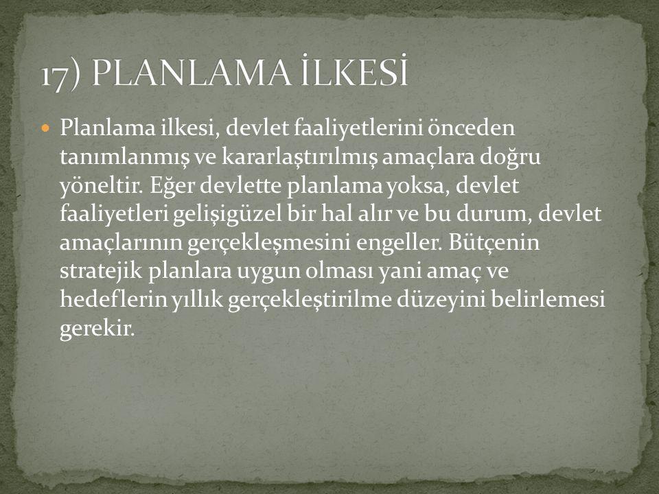 Planlama ilkesi, devlet faaliyetlerini önceden tanımlanmış ve kararlaştırılmış amaçlara doğru yöneltir. Eğer devlette planlama yoksa, devlet faaliyetl