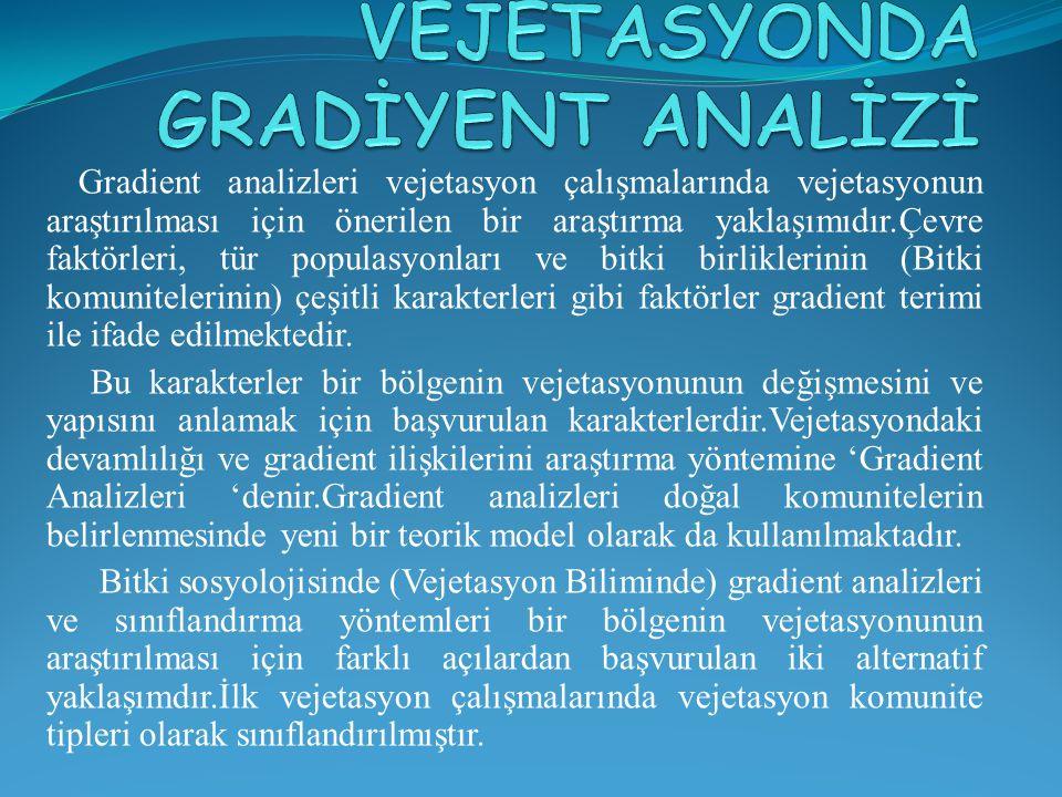 Gradient analizleri vejetasyon çalışmalarında vejetasyonun araştırılması için önerilen bir araştırma yaklaşımıdır.Çevre faktörleri, tür populasyonları ve bitki birliklerinin (Bitki komunitelerinin) çeşitli karakterleri gibi faktörler gradient terimi ile ifade edilmektedir.