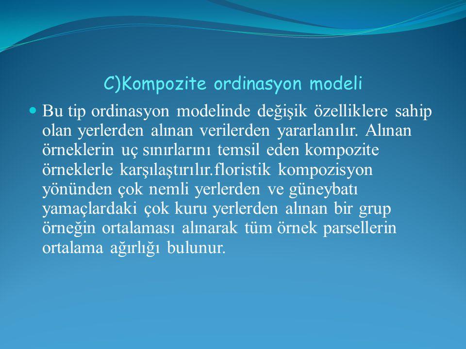 C)Kompozite ordinasyon modeli Bu tip ordinasyon modelinde değişik özelliklere sahip olan yerlerden alınan verilerden yararlanılır. Alınan örneklerin u