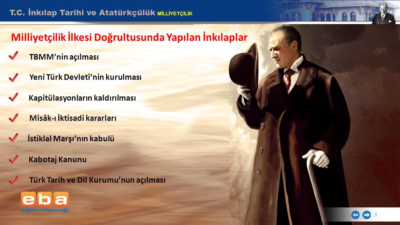 T.C. İnkılap Tarihi ve Atatürkçülük MİLLİYETÇİLİK 9 Milliyetçilik İlkesi Doğrultusunda Yapılan İnkılaplar TBMM'nin açılması Yeni Türk Devleti'nin kuru