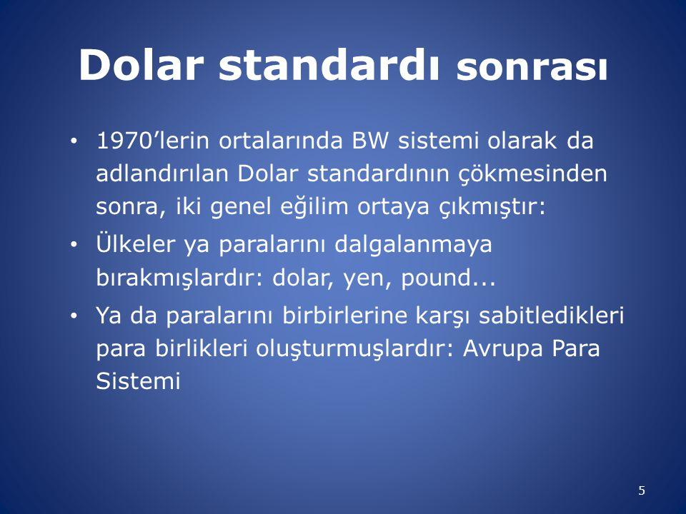 Dolar standardı sonrası 1970'lerin ortalarında BW sistemi olarak da adlandırılan Dolar standardının çökmesinden sonra, iki genel eğilim ortaya çıkmışt