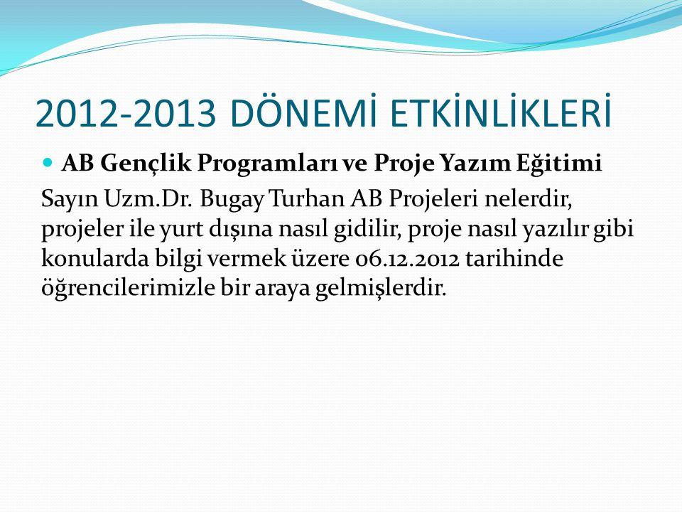 2012-2013 DÖNEMİ ETKİNLİKLERİ AB Gençlik Programları ve Proje Yazım Eğitimi Sayın Uzm.Dr. Bugay Turhan AB Projeleri nelerdir, projeler ile yurt dışına