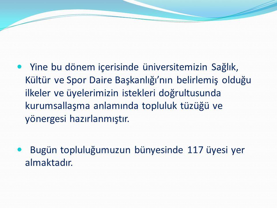 Yine bu dönem içerisinde üniversitemizin Sağlık, Kültür ve Spor Daire Başkanlığı'nın belirlemiş olduğu ilkeler ve üyelerimizin istekleri doğrultusunda