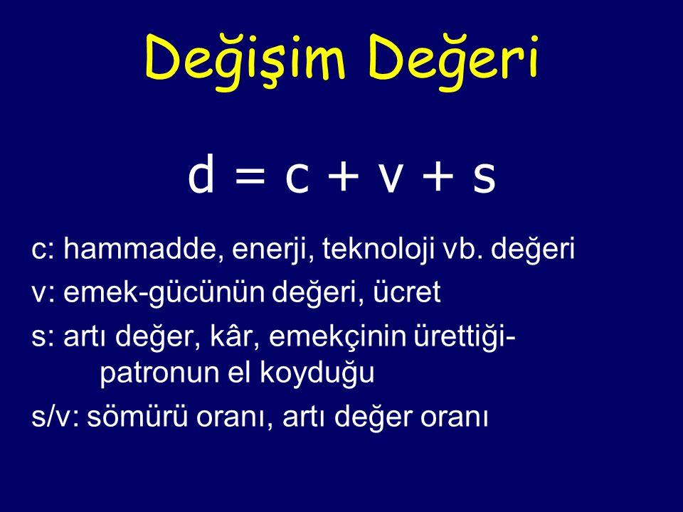 Değişim Değeri d = c + v + s c: hammadde, enerji, teknoloji vb.