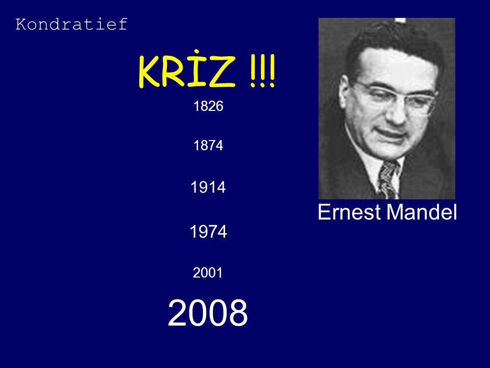 KRİZ !!! 1826 1874 1914 1974 2001 2008 Ernest Mandel Kondratief
