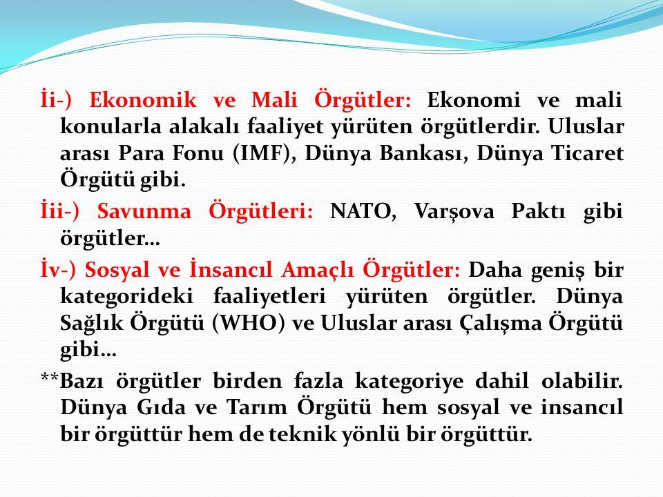 İi-) Ekonomik ve Mali Örgütler: Ekonomi ve mali konularla alakalı faaliyet yürüten örgütlerdir. Uluslar arası Para Fonu (IMF), Dünya Bankası, Dünya Ti