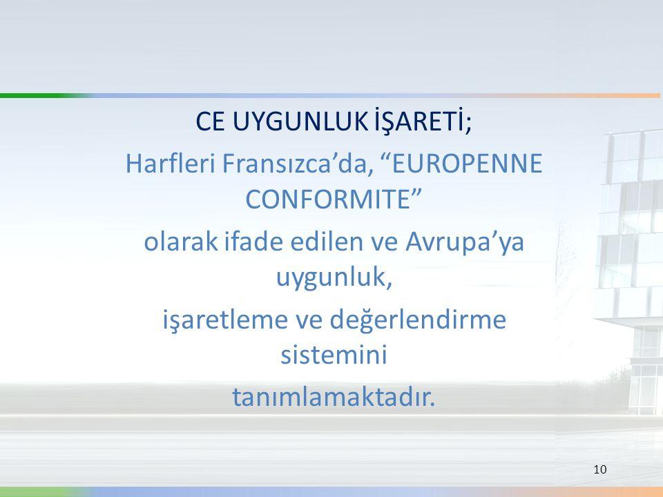 """CE UYGUNLUK İŞARETİ; Harfleri Fransızca'da, """"EUROPENNE CONFORMITE"""" olarak ifade edilen ve Avrupa'ya uygunluk, işaretleme ve değerlendirme sistemini ta"""