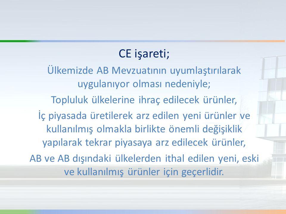CE işareti; Ülkemizde AB Mevzuatının uyumlaştırılarak uygulanıyor olması nedeniyle; Topluluk ülkelerine ihraç edilecek ürünler, İç piyasada üretilerek
