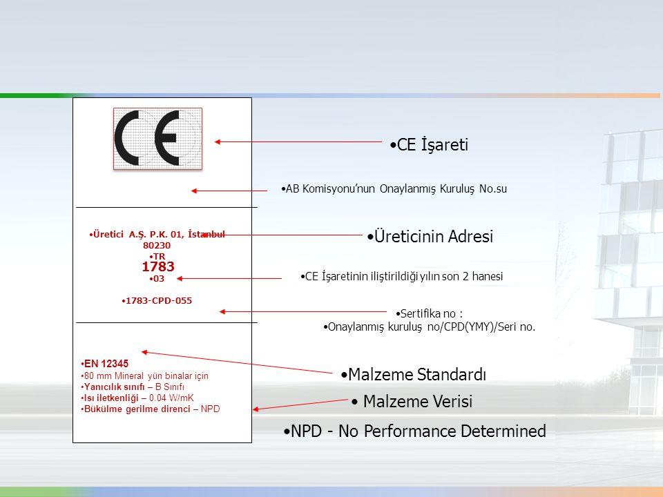 CE İşareti AB Komisyonu'nun Onaylanmış Kuruluş No.su Üretici A.Ş. P.K. 01, İstanbul 80230 TR 03 1783-CPD-055 Üreticinin Adresi CE İşaretinin iliştiril