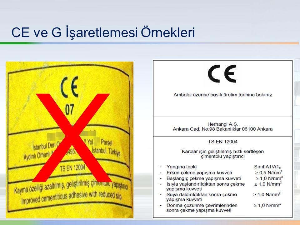 CE ve G İşaretlemesi Örnekleri X