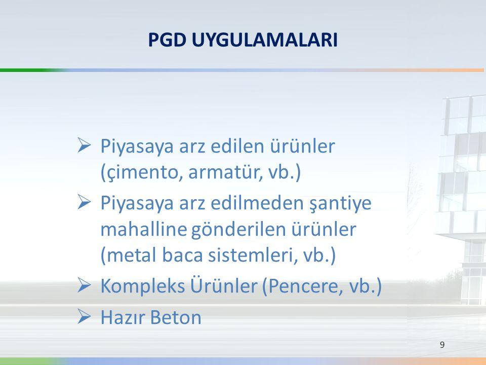 PGD UYGULAMALARI  Piyasaya arz edilen ürünler (çimento, armatür, vb.)  Piyasaya arz edilmeden şantiye mahalline gönderilen ürünler (metal baca siste