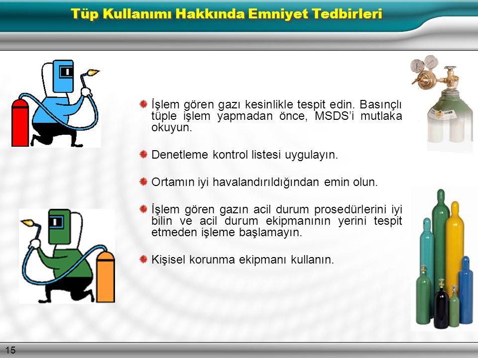 14 Bazı gazlar, emniyetli kullanımları için çok özel prosedürlere tabidir. Herhangi bir basınçlı gaz tüpünü kullanmadan önce, gazın MSDS'sini (Malzeme