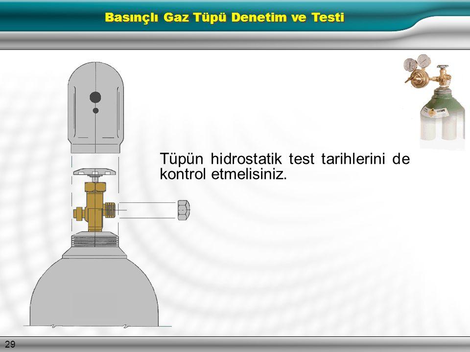 28 ŞU SORULARI SORUN Tüpte kusur belirtileri var mı? Derin paslanma emareleri gösteriliyor mu? Belirlenen kullanım alanında doğru gazı mı içeriyor? Pr