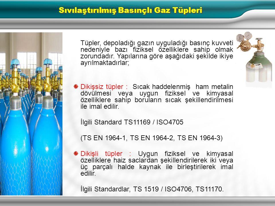 2 Sıvılaştırılmış Gaz Tüpleri Sıvılaştırılmış basınçlı gaz, bir kaba sıkıştırılabilen, 25 ila 2500 psig basınçta ve olağan sıcaklık derecelerinde sıvı
