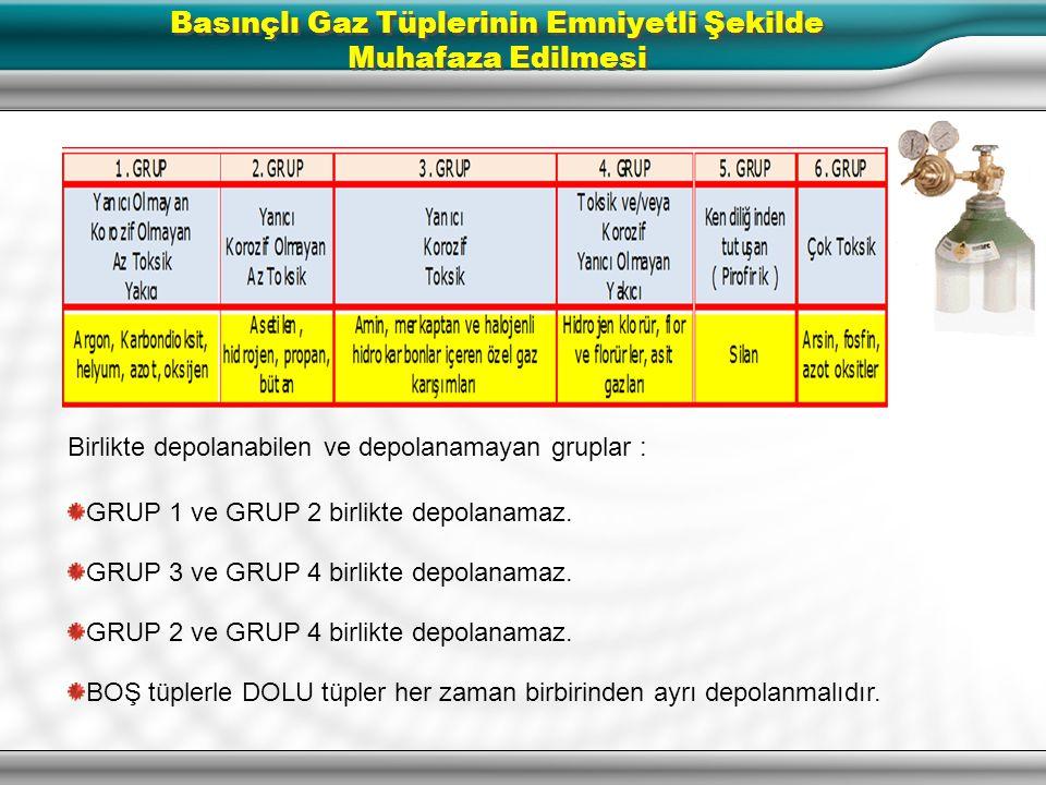 Birlikte depolanabilen ve depolanamayan gruplar : GRUP 1 ve GRUP 4 birlikte depolanabilir. GRUP 2 ve GRUP 3 birlikte depolanabilir. GRUP 5 hiçbir grup