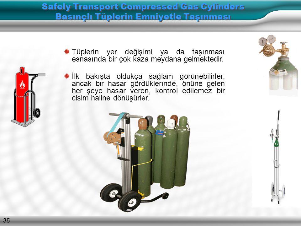 34 Tüpleri, tehlikeli gaz sınıfına göre ayırın. Birbirine uymayan gazlar, boş olsalar dahi, tehlike sınıfına göre ayrı bir yerde muhafaza edilmelidir.