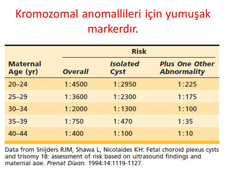 Kromozomal anomallileri için yumuşak markerdır.
