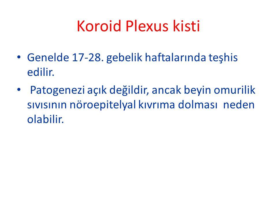 Koroid Plexus kisti Genelde 17-28. gebelik haftalarında teşhis edilir. Patogenezi açık değildir, ancak beyin omurilik sıvısının nöroepitelyal kıvrıma