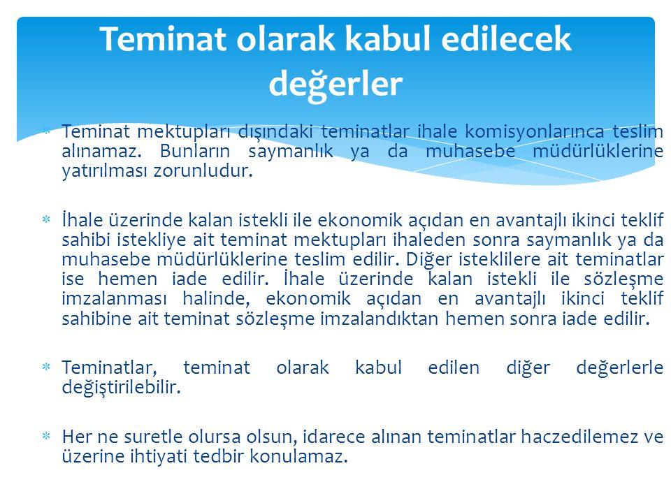  Teminat mektupları dışındaki teminatlar ihale komisyonlarınca teslim alınamaz. Bunların saymanlık ya da muhasebe müdürlüklerine yatırılması zorunlud