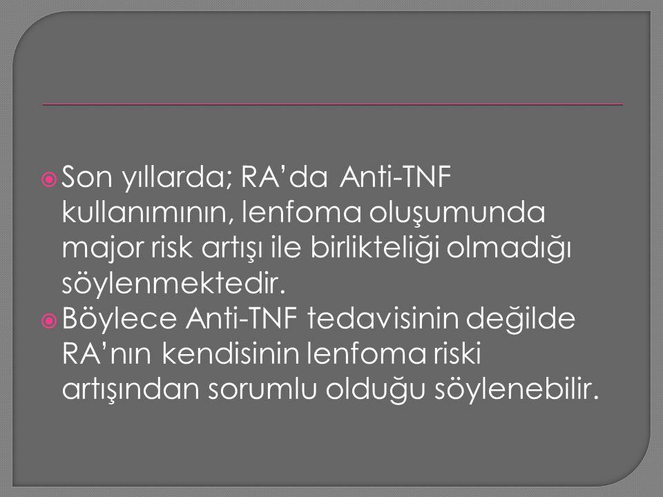  Son yıllarda; RA'da Anti-TNF kullanımının, lenfoma oluşumunda major risk artışı ile birlikteliği olmadığı söylenmektedir.  Böylece Anti-TNF tedavis