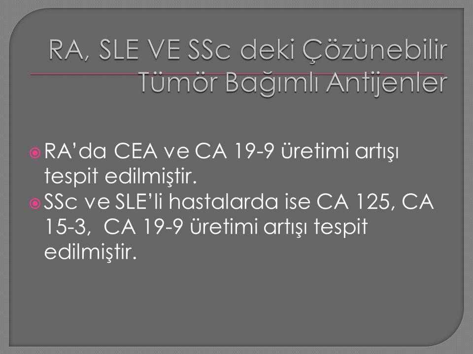  RA'da CEA ve CA 19-9 üretimi artışı tespit edilmiştir.  SSc ve SLE'li hastalarda ise CA 125, CA 15-3, CA 19-9 üretimi artışı tespit edilmiştir.