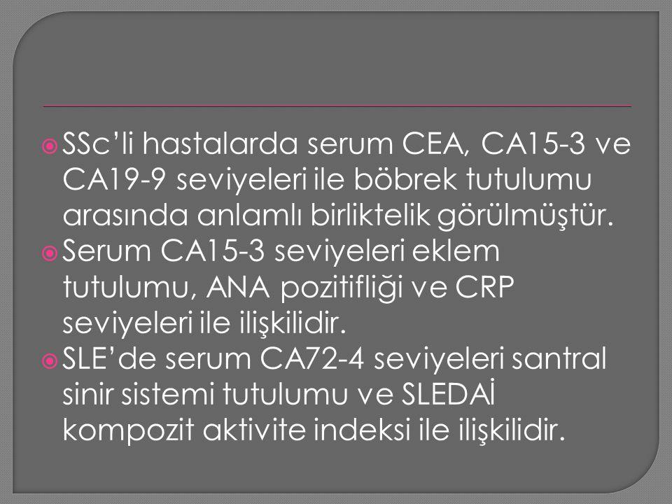  SSc'li hastalarda serum CEA, CA15-3 ve CA19-9 seviyeleri ile böbrek tutulumu arasında anlamlı birliktelik görülmüştür.  Serum CA15-3 seviyeleri ekl
