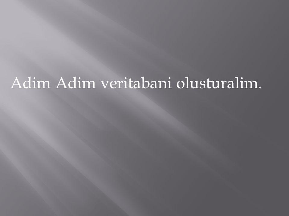 Adim Adim veritabani olusturalim.