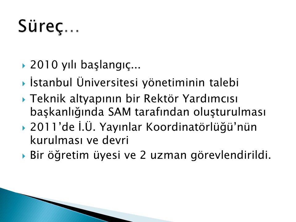  2010 yılı başlangıç...  İstanbul Üniversitesi yönetiminin talebi  Teknik altyapının bir Rektör Yardımcısı başkanlığında SAM tarafından oluşturulma