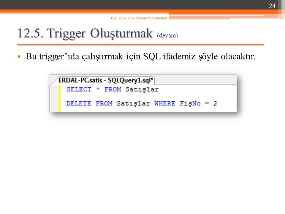 12.5.Trigger Oluşturmak (devam) Bu trigger'ıda çalıştırmak için SQL ifademiz şöyle olacaktır.