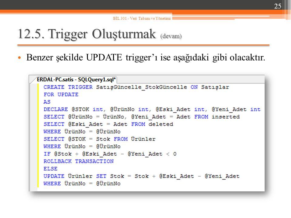 12.5.Trigger Oluşturmak (devam) Benzer şekilde UPDATE trigger'ı ise aşağıdaki gibi olacaktır.