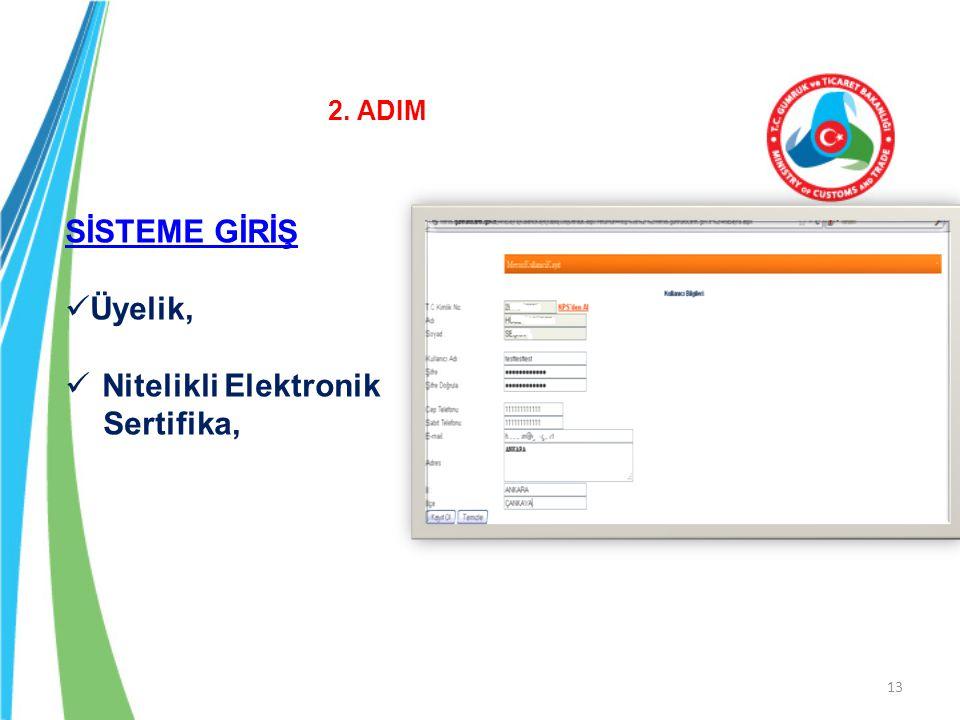 13 SİSTEME GİRİŞ Üyelik, Nitelikli Elektronik Sertifika, 2. ADIM
