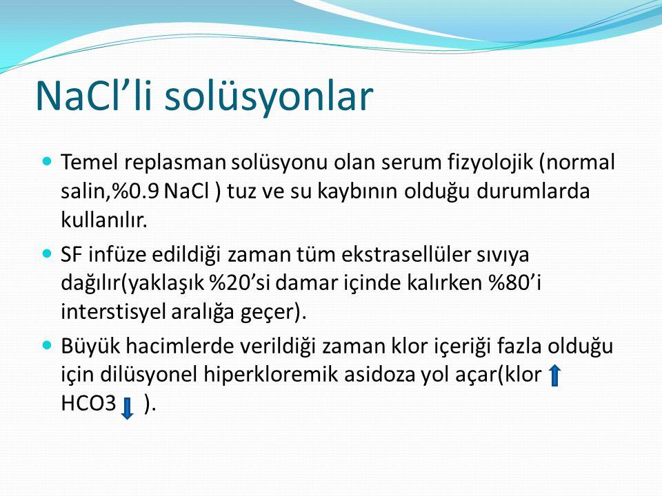 NaCl'li solüsyonlar Temel replasman solüsyonu olan serum fizyolojik (normal salin,%0.9 NaCl ) tuz ve su kaybının olduğu durumlarda kullanılır. SF infü