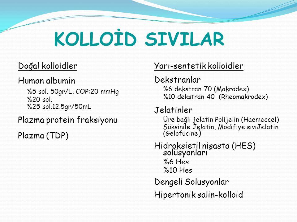 KOLLOİD SIVILAR Doğal kolloidler Human albumin %5 sol. 50gr/L, COP:20 mmHg %20 sol. %25 sol.12.5gr/50mL Plazma protein fraksiyonu Plazma (TDP) Yarı-se