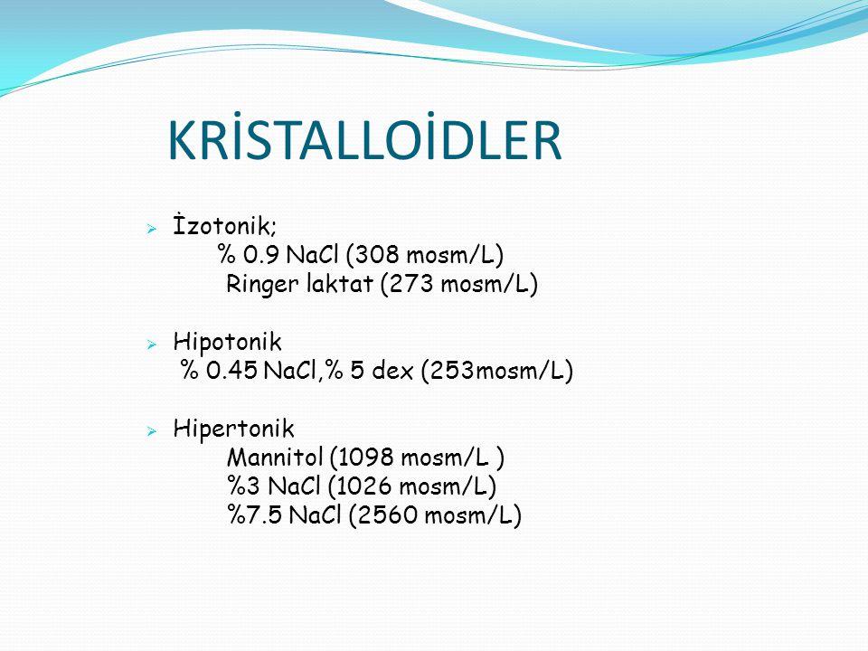 KRİSTALLOİDLER  İzotonik; % 0.9 NaCl (308 mosm/L) Ringer laktat (273 mosm/L)  Hipotonik % 0.45 NaCl,% 5 dex (253mosm/L)  Hipertonik Mannitol (1098